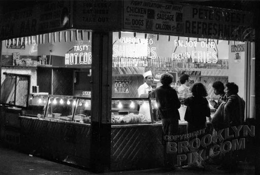 """Pete's Best"" Food concession at night, Coney Island, 1973 Old Vintage Photos and Images"