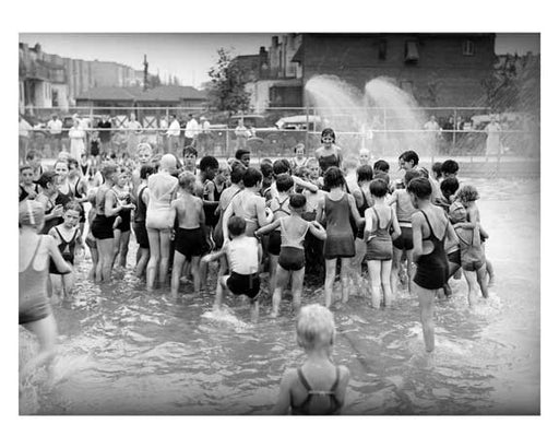 Playground opening day - Wading pool - 1934 - Jackson Heights - Queens NY Old Vintage Photos and Images
