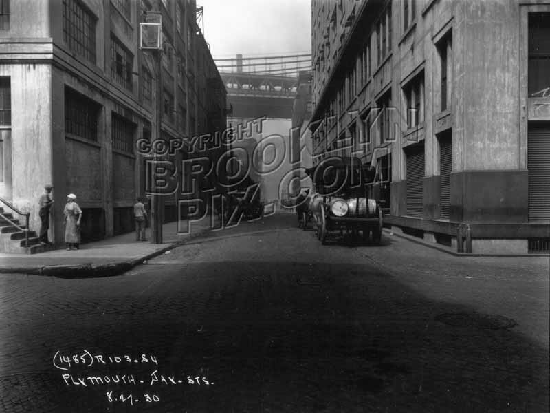 Plymouth Street west from Jay Street, showing both bridges, 1930 Old Vintage Photos and Images
