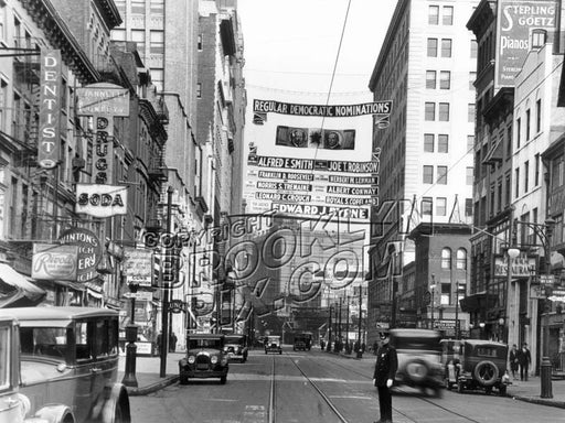 """Politics as usual,"" Democratic Party 1928 presidential campaign on Court Street Old Vintage Photos and Images"