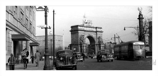 President Street & Prospect Park West with Grand Army Plaza Memorial in the background Old Vintage Photos and Images