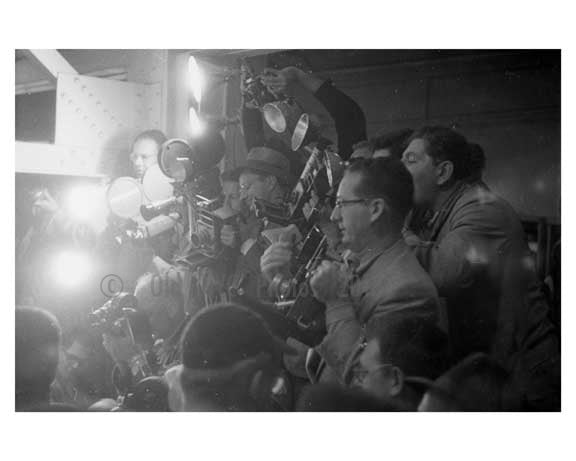 Press crowd the locker room after the 1956 World Series game at Ebbets Field - Brooklyn NY 1