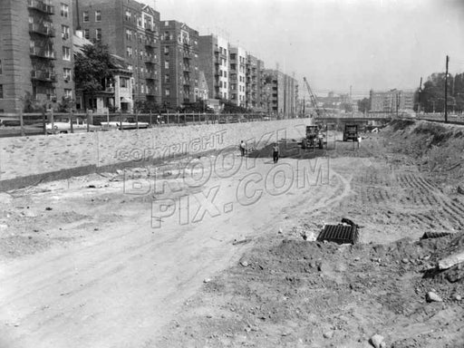 Prospect Expressway under construction, looking north from near Church Avenue, 1960 Old Vintage Photos and Images