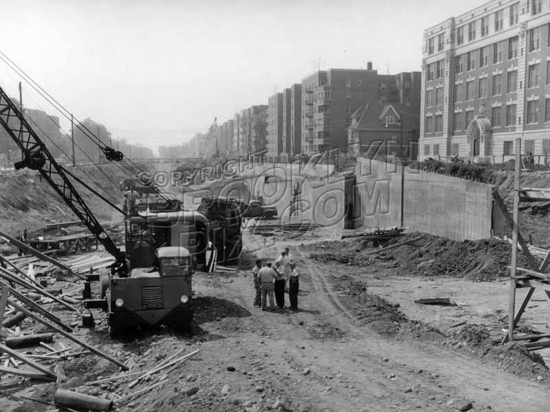 Prospect Expressway under construction looking south from Ft. Hamilton parkway to Church Avenue, P.S. 130 at right, 1960 Old Vintage Photos and Images