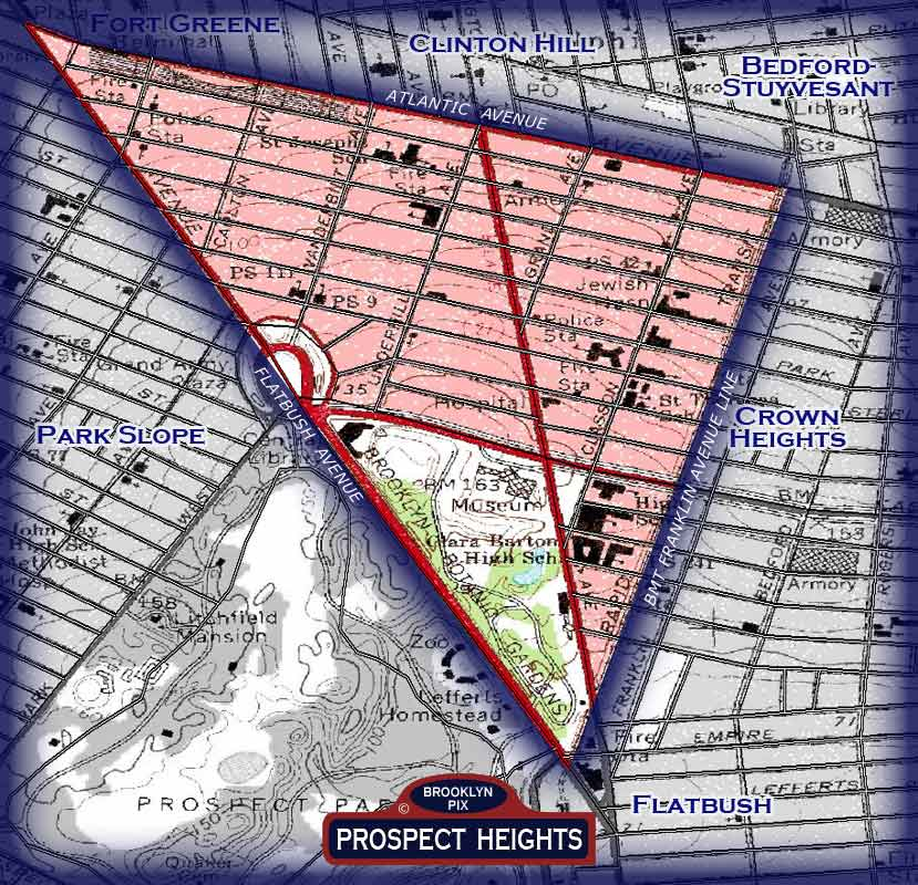 Prospect Heights neighborhood borders map Old Vintage Photos and Images