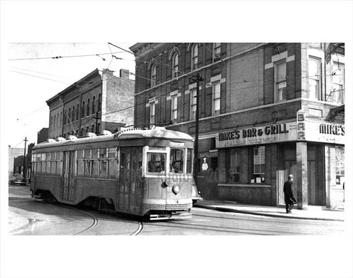 Putnam Ave Line passing by Mike's Bar & Grill Old Vintage Photos and Images