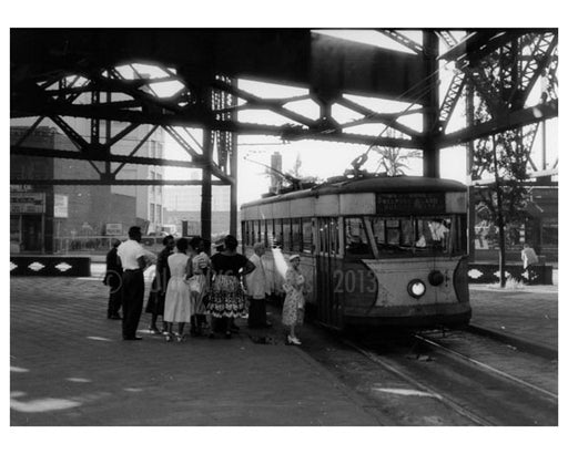 QB Bridge trolley at Queens Plaza 1956- Long Island City - Queens NY Old Vintage Photos and Images
