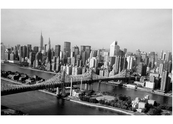 Queensboro Bridge - crossing over Blackwell (Roosevelt Island) from Manhattan to Queens Old Vintage Photos and Images