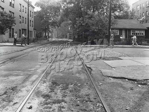 Railroad Avenue (New York & Coney Island RR right-of-way) looking west at West 29th St., 6-20-44 Old Vintage Photos and Images