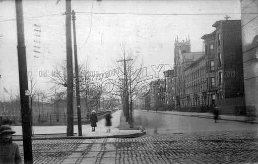 Russel Street south from Nassau Avenue to Driggs Avenue, Winthrop Park at left, 1915 Old Vintage Photos and Images