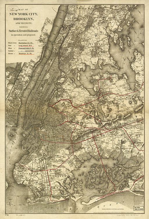 Vintage Map of New York City, Brooklyn, Art Print 1885