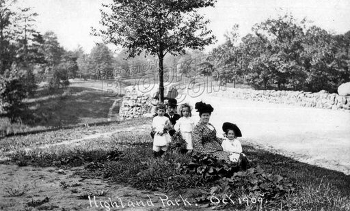 Scene near the Stone Bridge, Highland Park, 1909 Old Vintage Photos and Images