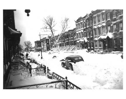 Schaeffer St in Blizzard - Bushwick Brooklyn NY Old Vintage Photos and Images
