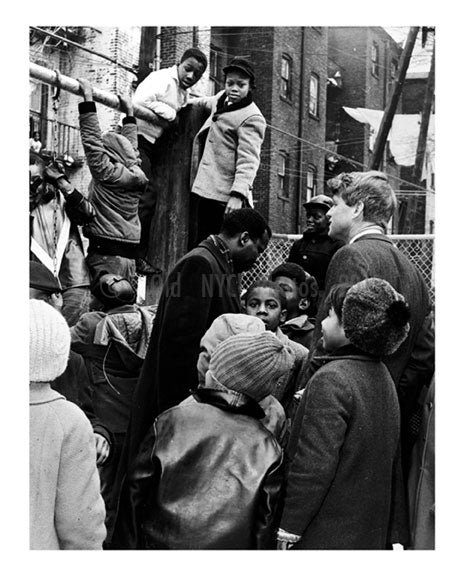 Senator Robert Kennedy joins kids at the playground - Brooklyn NY Old Vintage Photos and Images