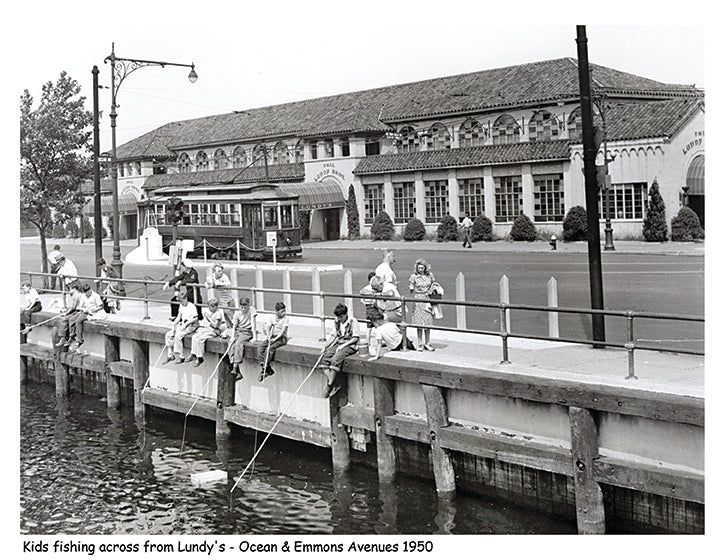 Ocean & Emmons Avenues, Kids fishing across from Lundy's - 1950