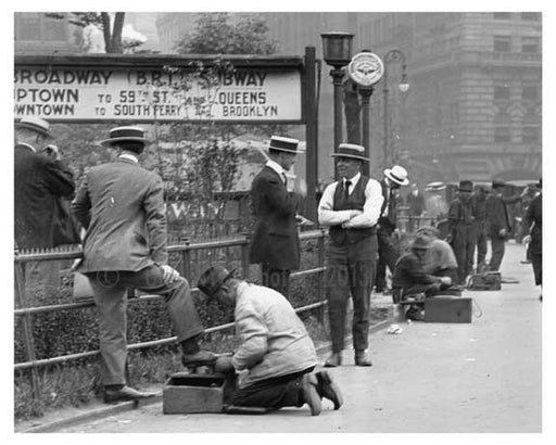 Shoe shiners at at Union Square Park , NY  1922 IV Old Vintage Photos and Images