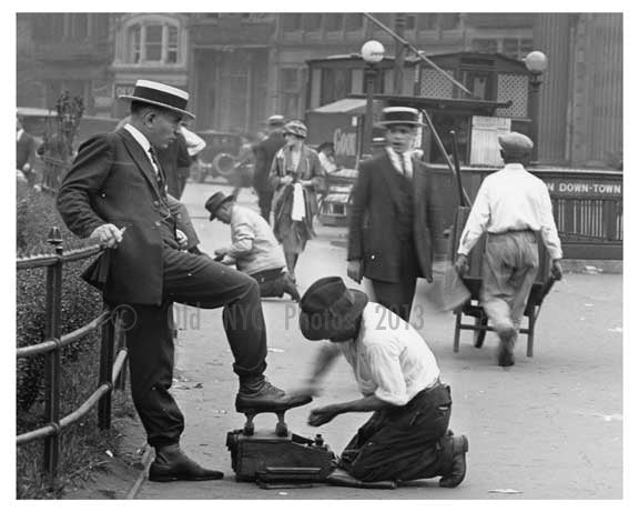 Shoe shiners & IRT entrance at Union Square Park , NY  1922 Old Vintage Photos and Images