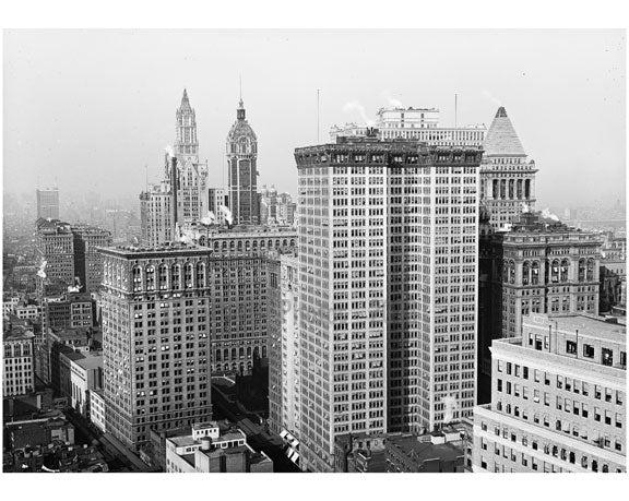 Skyscrapers, looking north towards towers of Woolworth Bldg. & Singer Bldg. Old Vintage Photos and Images