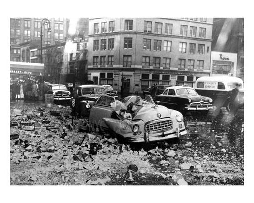 Smashing - a brutal car crash in Union Square 1950 Downtown Manhattan NYC Old Vintage Photos and Images