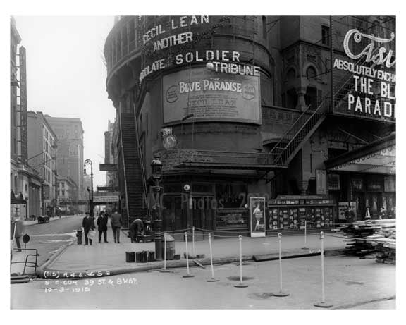 South East corner of  Broadway & 39th Street - Midtown Manhattan - 1915 Old Vintage Photos and Images