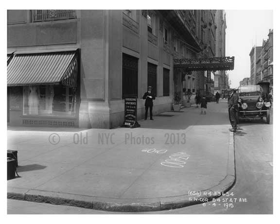 Southwest corner of  7th Avenue &  West 54th Street -  Midtown Manhattan 1914 Old Vintage Photos and Images