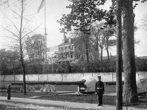 Spanish guns and Commandant's Residence, Navy Yard c.1905 Old Vintage Photos and Images