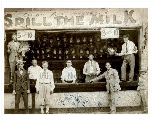 """Spill the milk"" at Coney Island 1927 Old Vintage Photos and Images"