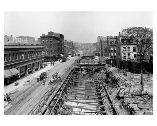 Spring Street - Construction seen from an Aerial view - Greenwich Village  - Manhattan  1914 Old Vintage Photos and Images