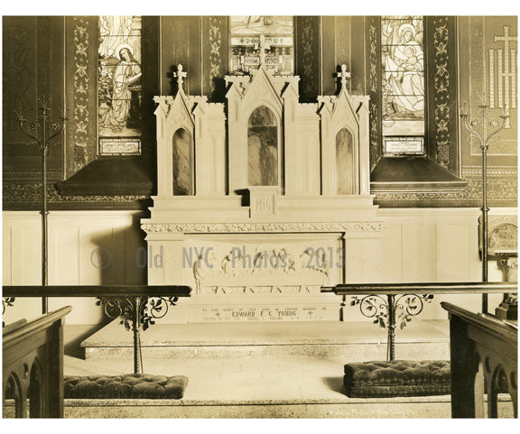 St. Johns P.E. church Altar (interior)  - Jesrsey City Old Vintage Photos and Images