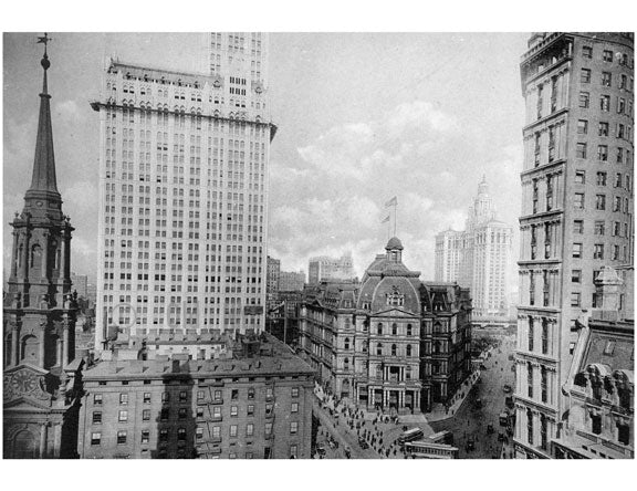 St. Pauls Church, Woolworth building, Post Office, Municipal Building & Park National Bank Old Vintage Photos and Images