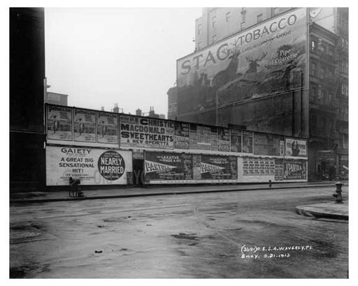 """Stag Tobacco"" & other Billboards on Broadway & Waverly Place - Tribeca - Downtown Manhattan NYC 1913 Old Vintage Photos and Images"