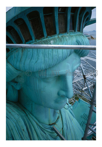 Statue of Liberty - upclose view of the face and crown looking northeast Old Vintage Photos and Images