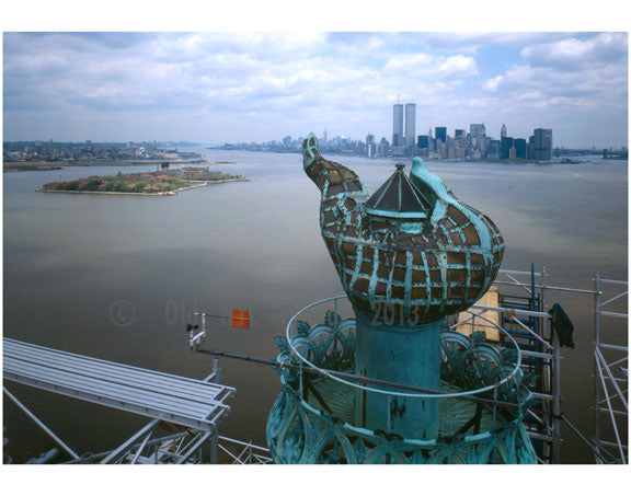 Statue of Liberty - view of flame & torch platform looking east with lower Manhattan in the background Old Vintage Photos and Images