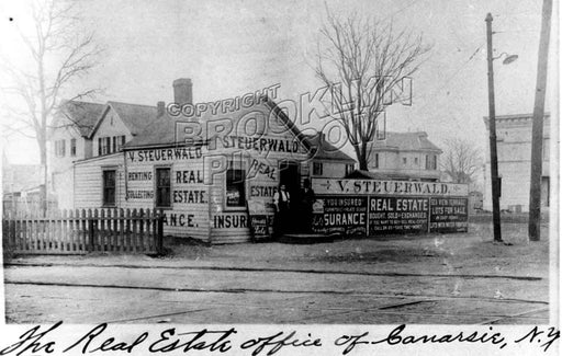Steuerwald's Real Estate Office, Rockaway Parkway near Glenwood Road, 1907 Old Vintage Photos and Images