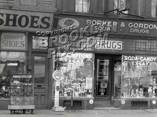 Stores along Fulton Street, 1929