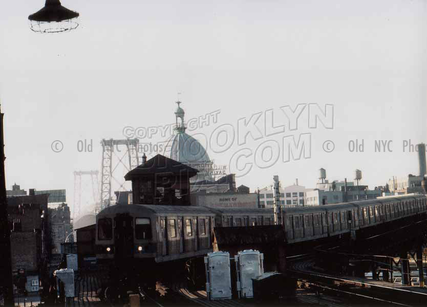 Subway train coming off Williamsburg Bridge onto line above Broadway, 1973 Old Vintage Photos and Images