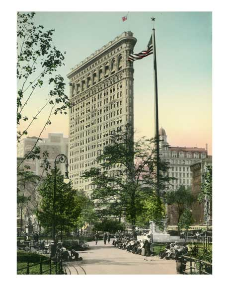 The Flatiron Building (Fuller Building) from Madison Square -   New York, NY 1962 Old Vintage Photos and Images