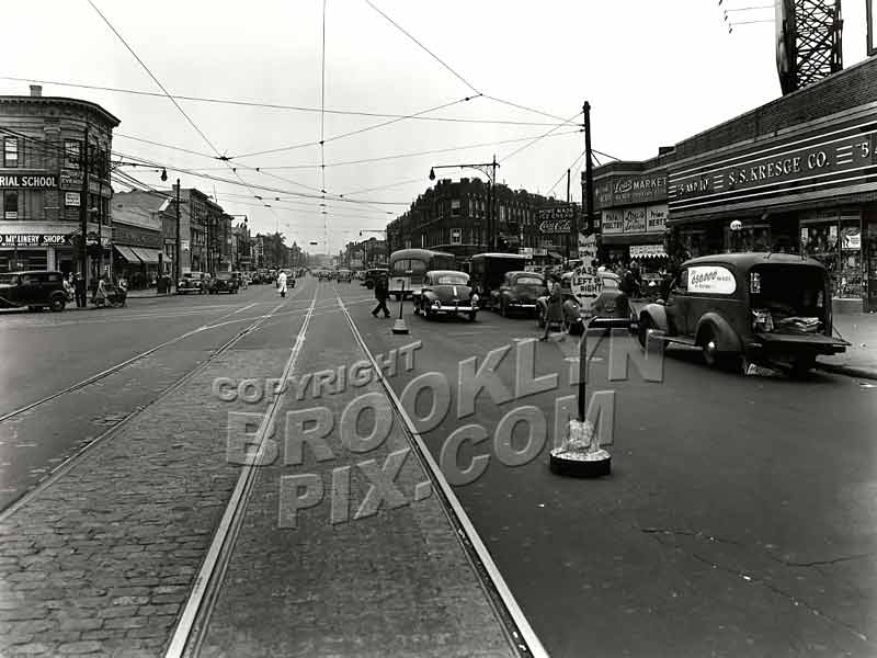 """The Junction"" --Flatbush Avenue at Nostrand Avenue looking NW, 1945 Old Vintage Photos and Images"
