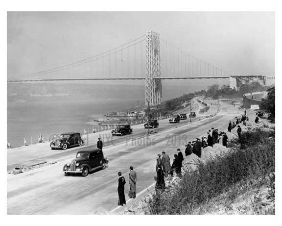 The opening of the westside highway with a clear shot of the  Triboro Bridge in the background 1937 Old Vintage Photos and Images