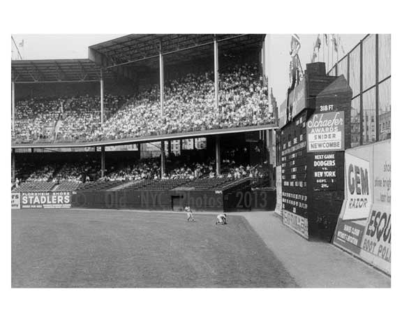 The outfield at Ebbets Field - Brooklyn NY 1957