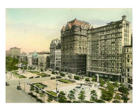 The Plaza & the Pulitzer Memorial Fountain - Midtown Manhattan Old Vintage Photos and Images