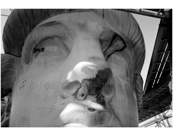 The Statue of Liberty - detail showing face and eye repair November 18th, 1985 Old Vintage Photos and Images