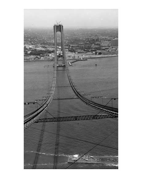 The Verrazano Bridge under construction  B