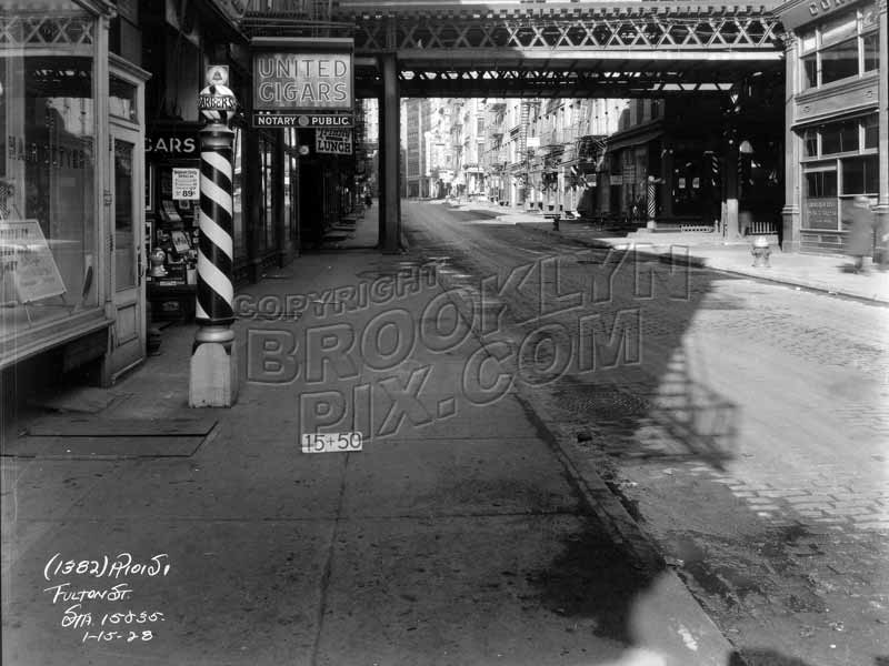 Third Avenue el on Pearl Street crossing Fulton Street, 1928 Old Vintage Photos and Images