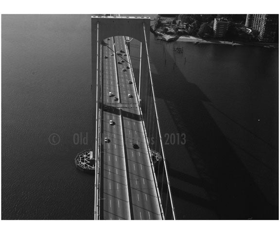 Throgs Neck Bridge - south tower looking along roadway Old Vintage Photos and Images