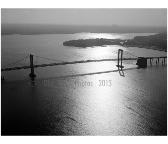 Throgs Neck Bridge - spans from east river from Queens to the Bronx - Aerial view looking east, with Long Island Old Vintage Photos and Images