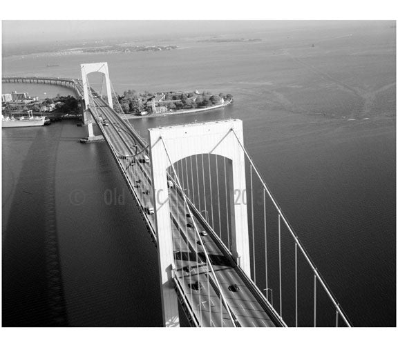Throgs Neck Bridge- view of towers looking north ny SUNY Maritime College Old Vintage Photos and Images