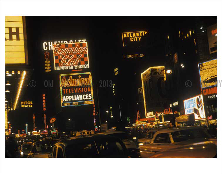 Times Square at night NYNY Old Vintage Photos and Images