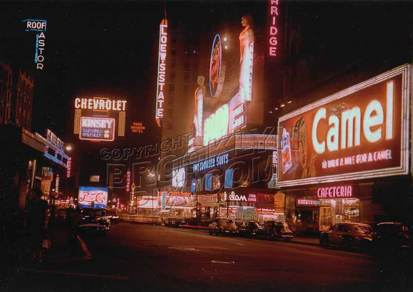 Times Square at night, early 1950s Old Vintage Photos and Images