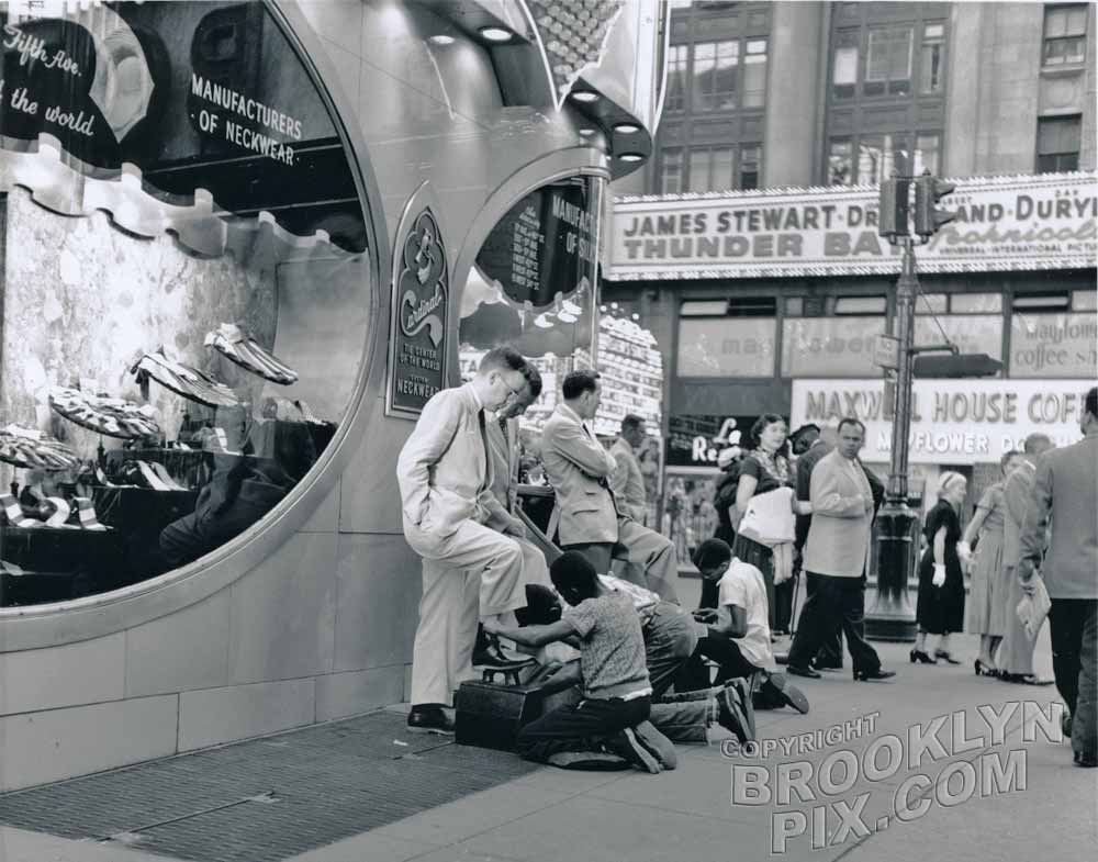 Times square shoeshine boys, 1953 Manhattan NY Old Vintage Photos and Images